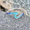 Волна, кольцо с эмалью