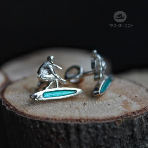Серфингист, серьги